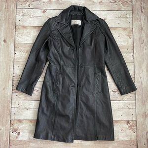 Vintage Black Leather Trench Coat Jacket S Sm 2 4